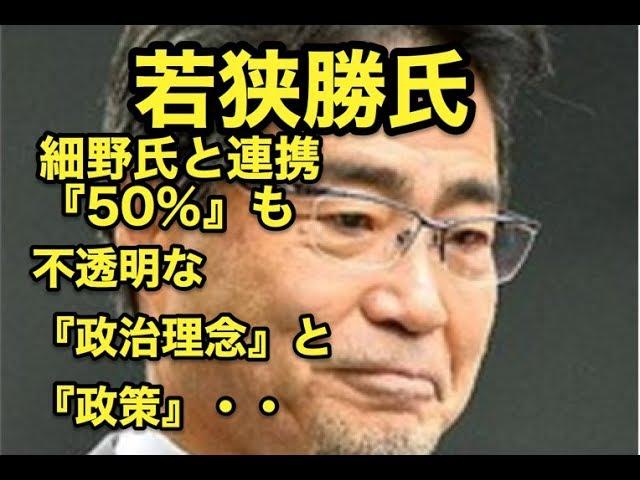 若狭勝氏・細野氏と連携『50%』も・・不透明な・・『政治理念』と『政策』・・